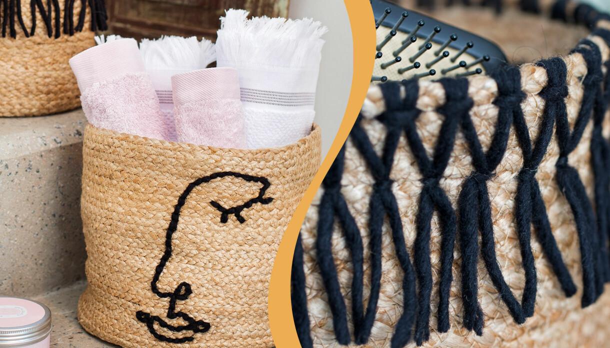 Två flätade korgar med broderat ansikte och fransar. Du broderar enkelt mönstren på korgen själv. I korgarna kan du förvara det mesta, till exempel kan du ha handdukar i korgen så blir det ett fint inslag i inredningen.