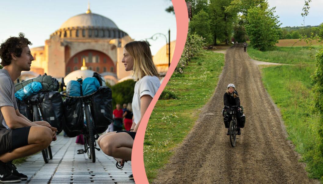 Delad bild. Till vänster Robin Lyne och Kornelia Thörn under en av sina långfärdscykelresor runt om i världen. Till höger syns Kornelia Thörn cykla på Österlen.