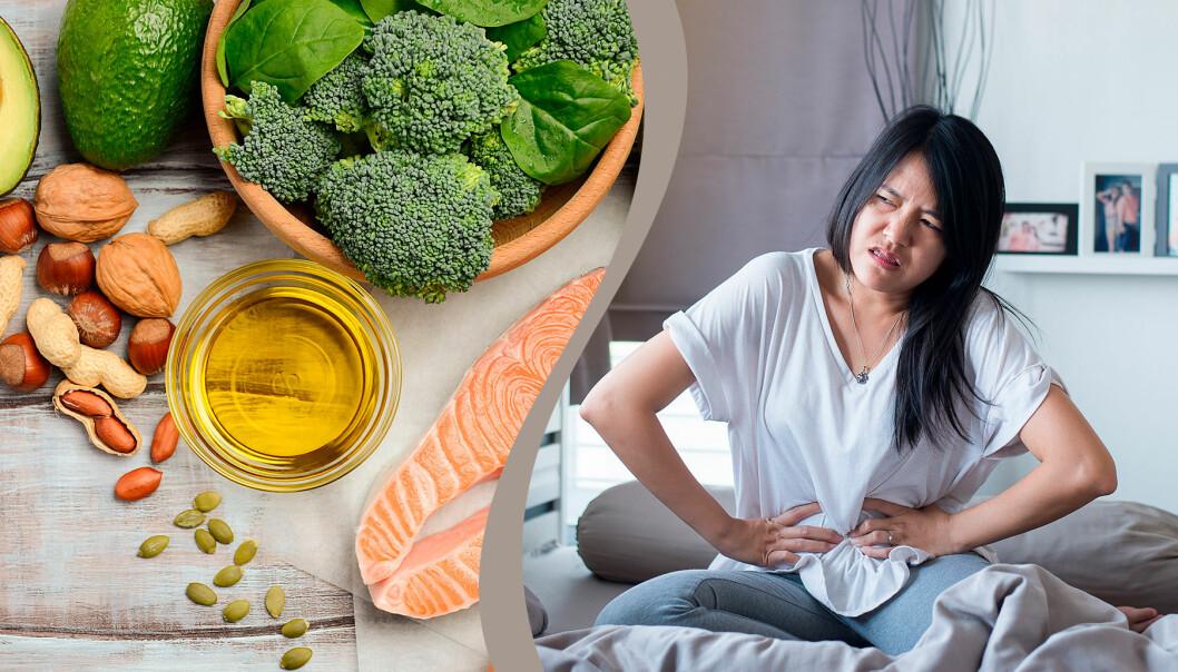 Mat som lindrar mensvärk och en kvinna som hålelr sig för magen på grund av kramp i magen.