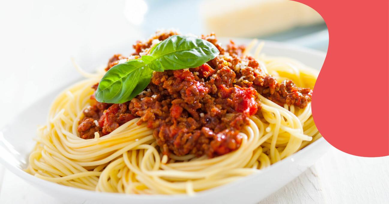 Spaghetti och köttfärssås.