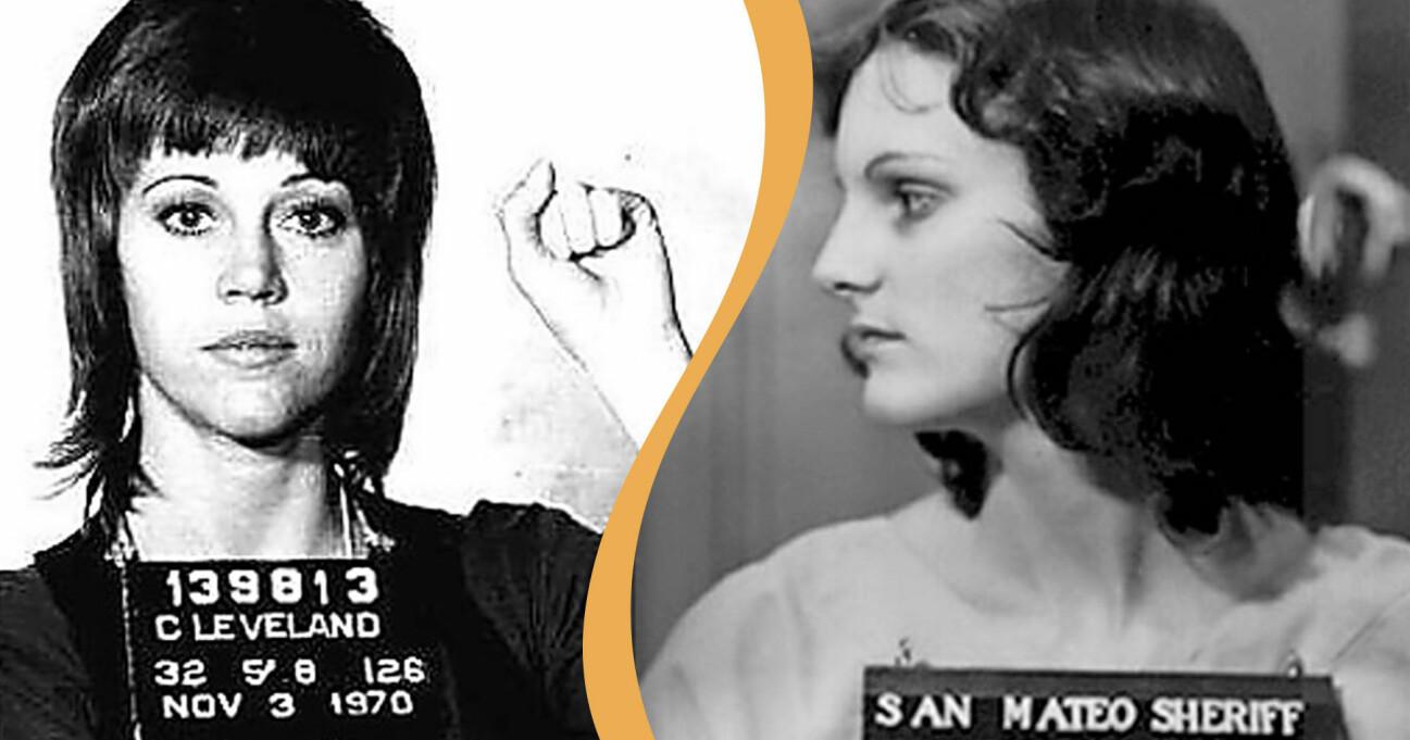 Jane Fonda och Patty Hearst med sina så kallade mugshots.