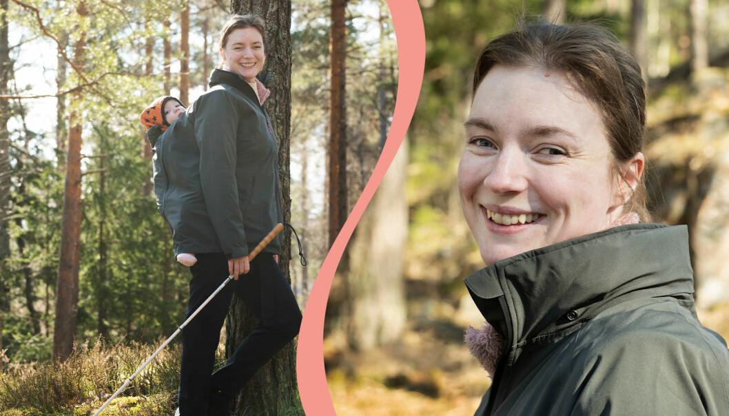 Kristin Nordström, som blev blind efter att ha fått cancer i foten. Till vänster syns hon tillsammans med sin son och till höger en porträttbild på henne.