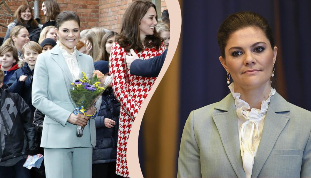 Kronprinsessan Victoria i kavaj och vit blus.