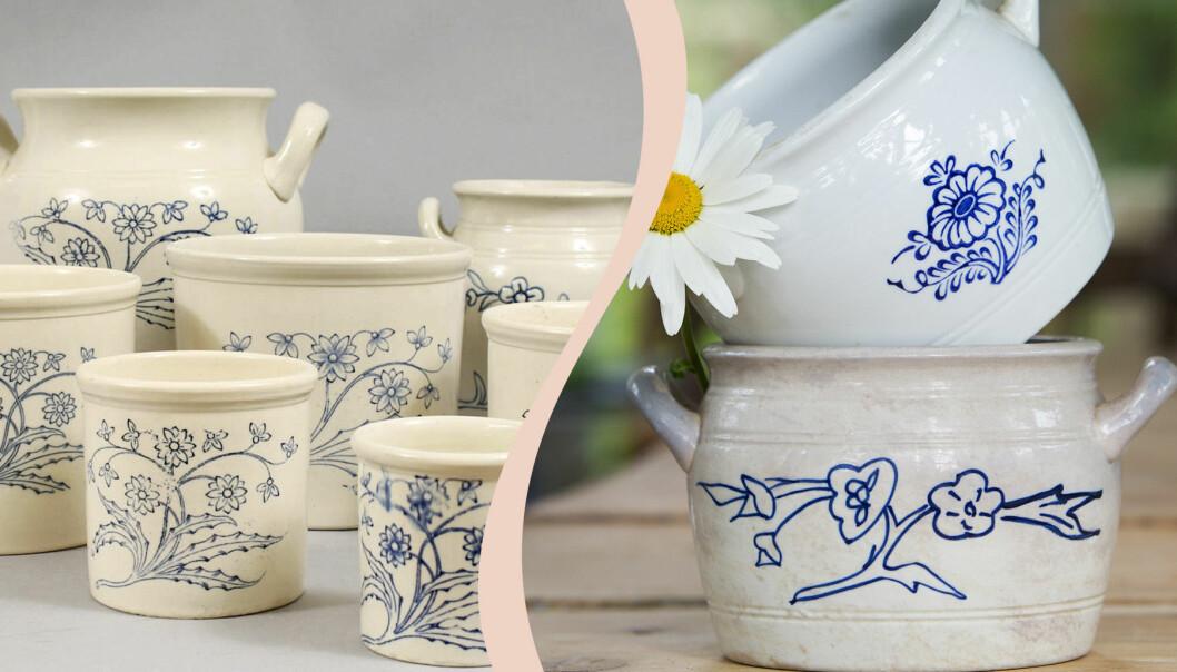 Delad bild. Till vänster flera gräddvita krukor med blått blommönster. Till höger två vita krukor staplade med en prästkrage i.