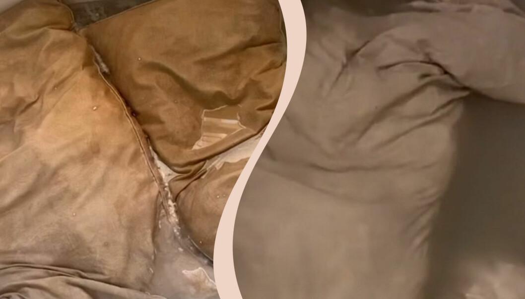 Kuddar som är bruna av smuts.
