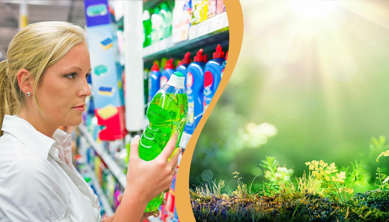 Kvinna köper diskmedel, grön miljö
