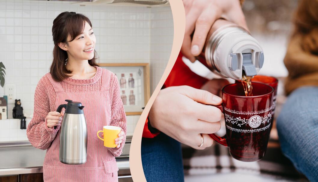 Kvinna med kaffekanna.