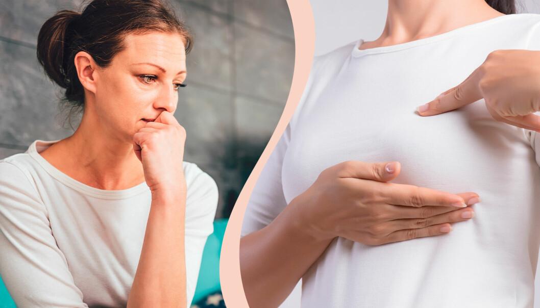 Kvinna oroar sig, biter på naglarna. Kvinna känner på bröst efter knölar för att upptäcka bröstcancer.