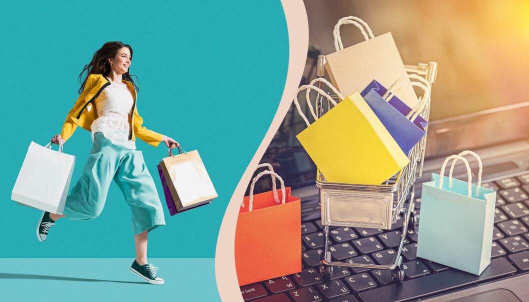 Kvinna som shoppar online.