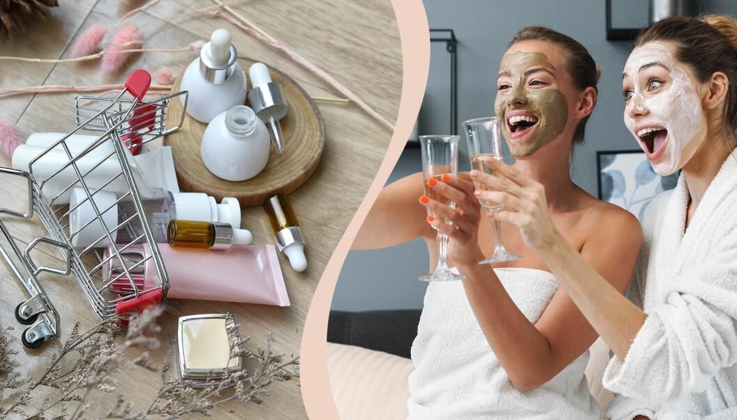 Kvinnor med ansiktsmasker är glada.