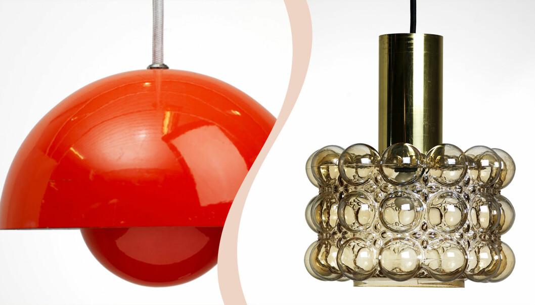 Till vänster orange taklampa, till höger taklampa med bubbligt glas och mässing.