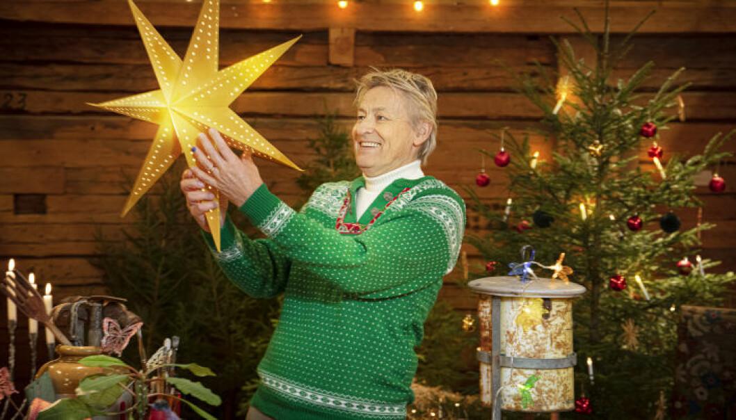 Lars Lerin i grön kofta med en adventsstjärna framför en julgran.