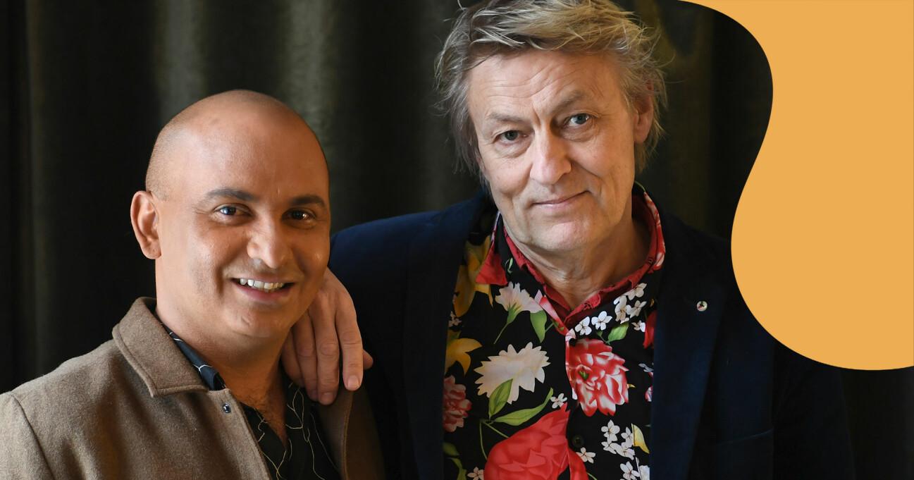Porträtt av Lars Lerin och maken Junior.