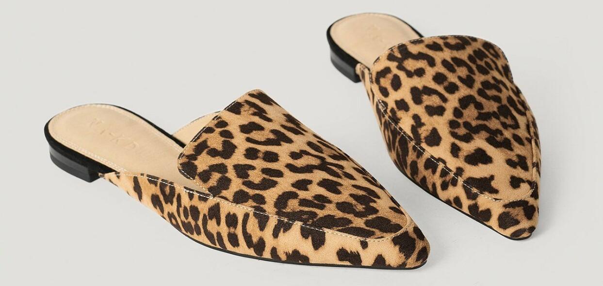 Leopardmönstrade slip in-skor med låg klack, från NA–KD