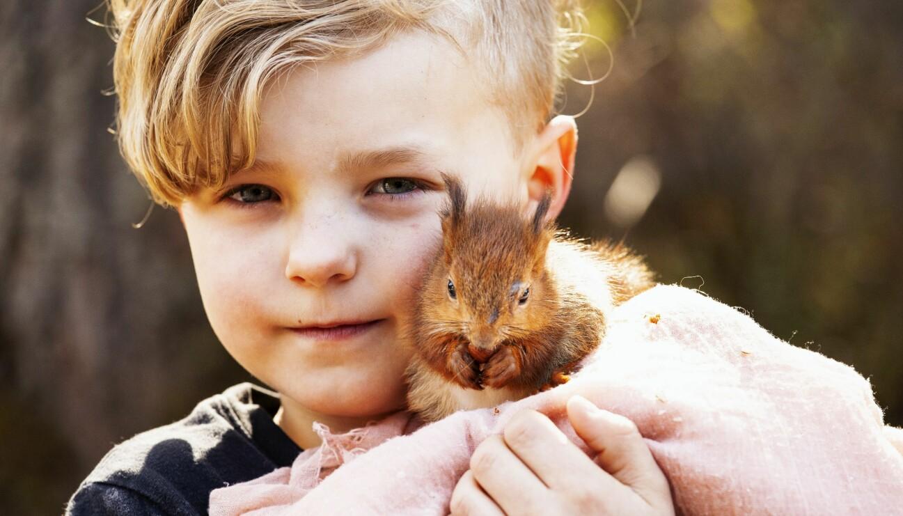 Pojke som har en ekorre som husdjur.