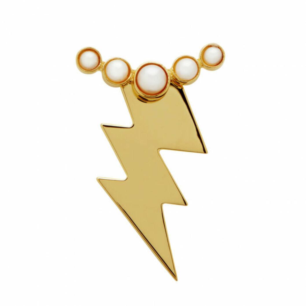 Blixtformat örhänge med en rad pärlor