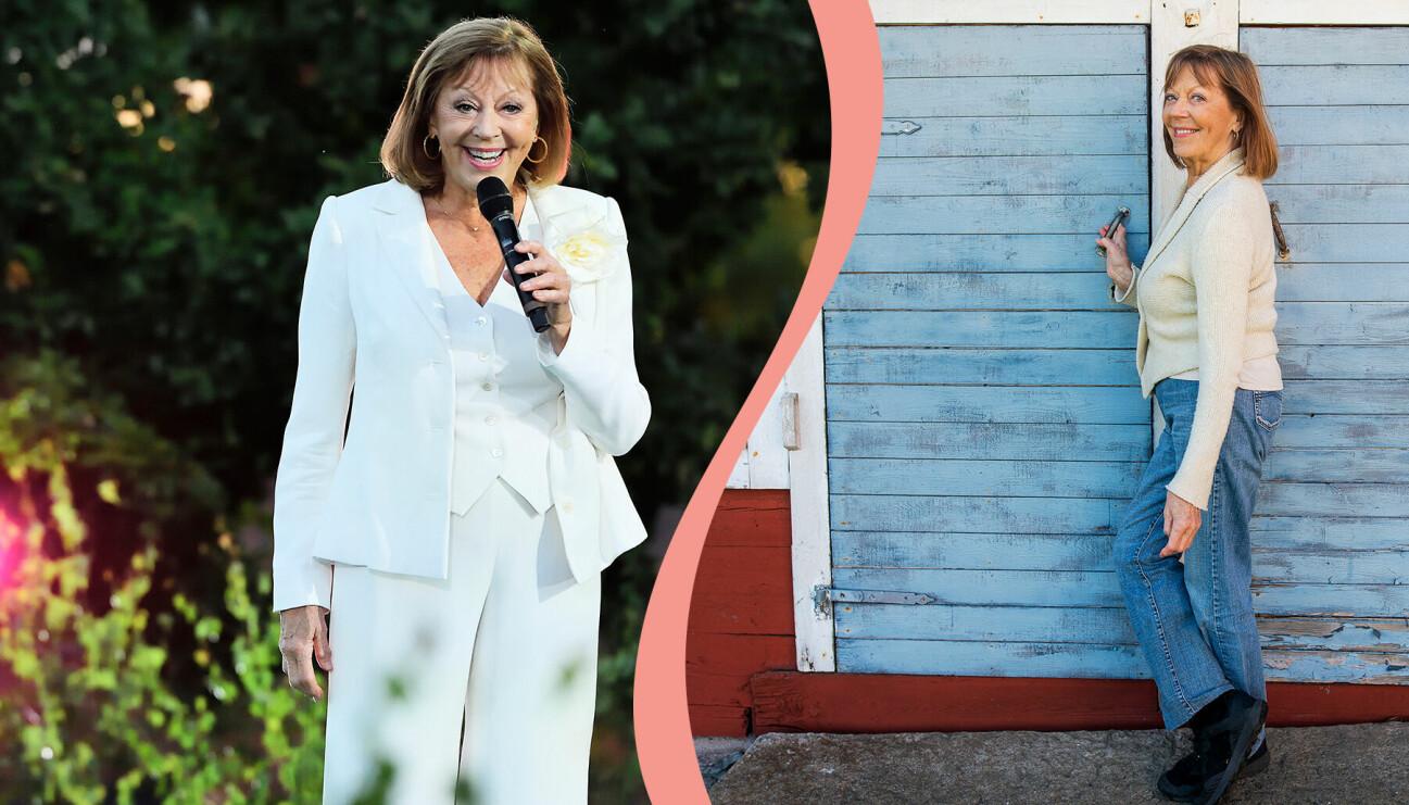 Till vänster, Lill Lindfors uppträder på Skansen år 2020, till höger Lill Lindfors fotograferad hemma på gården på Öland i samband med sin 80-årsdag.
