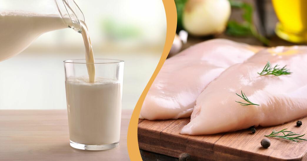 Kollage av rå kycklingfilé och opastoriserad mjölk.