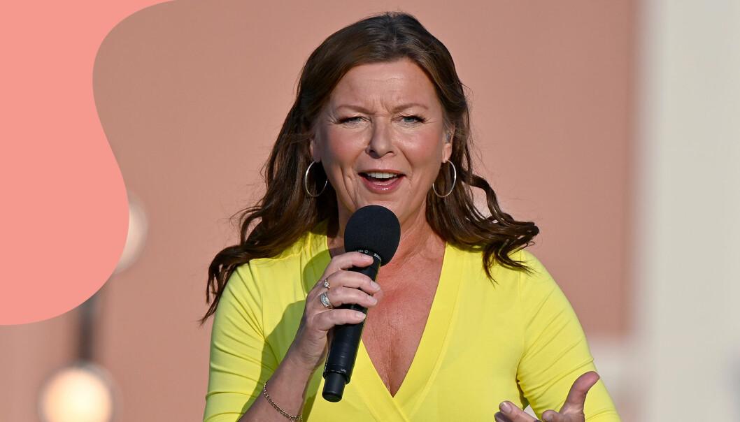 Artisten Lotta Engberg på scenen under Lotta på Liseberg sommaren 2021