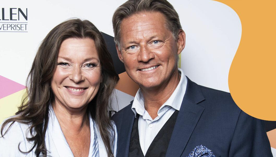 Lotta Engberg och Mikael Sandström på Kristallengalan 2020.