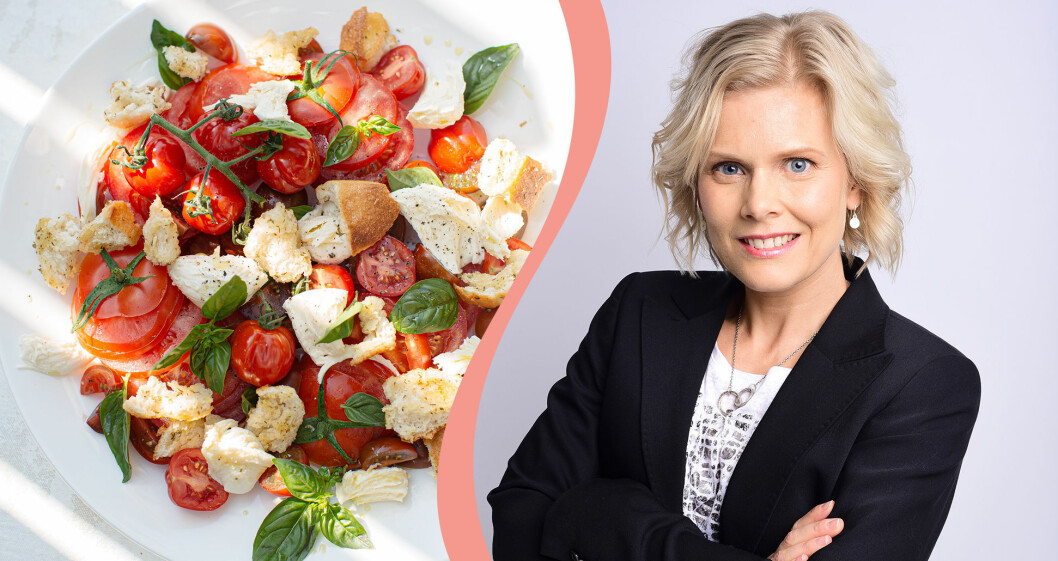 Bild på tallrik med sallad, till vänster, och måltidsforskaren Mia Prime, till höger.