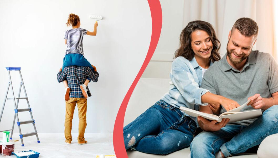 Par målar om och tittar i fotoalbum. Det är exempel på vad lyckliga par gör när de är lediga tillsammans.