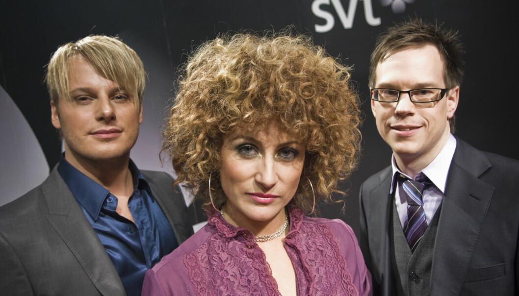 Magnus Carlsson, Anna Mourou och Thomas Deutgen fotograferade i samband med presentation av SVT-programmet Dansbandskampen 2008.