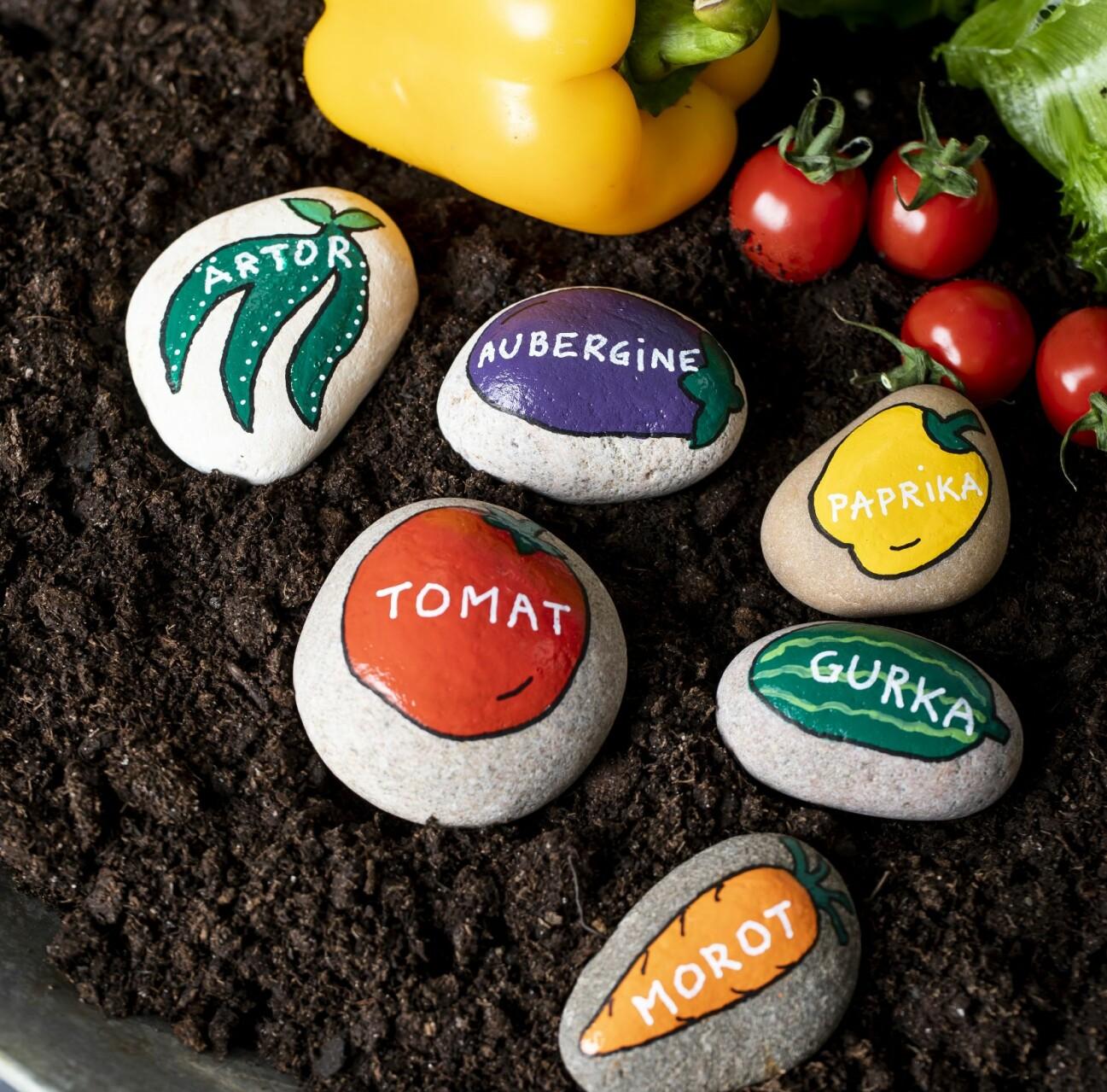 """Målade stenar att använda som """"planeringspinnar"""" i trädgårdslandet"""