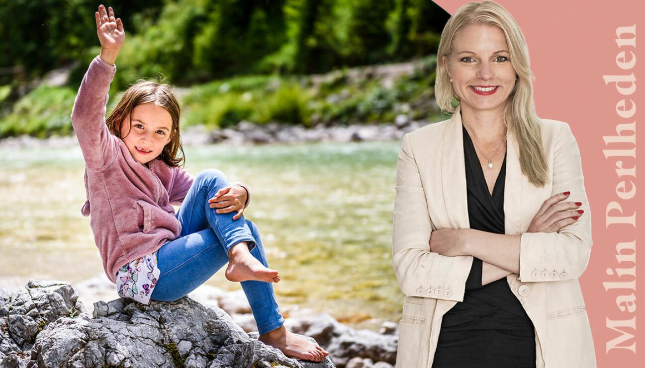 Malin Perlheden, författare och krönikör, och ett barn.