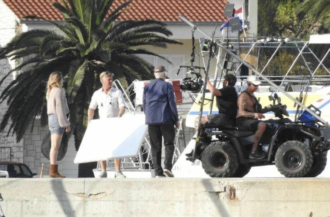 Filminspelning i Kroatien av nya filmen Mamma Mia: Here We Go Again! med Pierce Brosnan och Lily James.