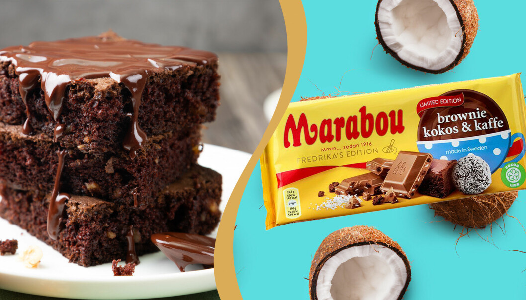 Brownie, kokos och kaffe. Ny smak på Marabou.