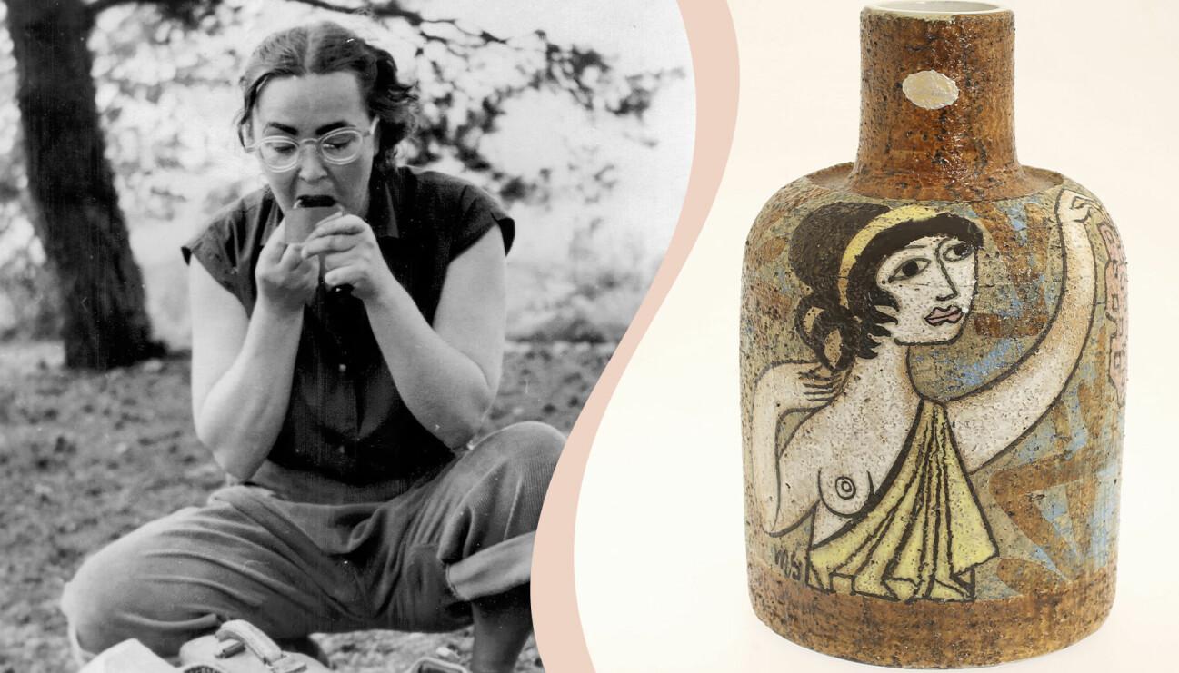 Till vänster svartvit bild av Mari Simmulson, till höger vas ur serien Mariana.