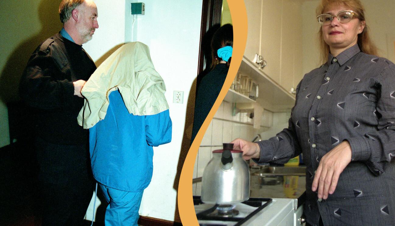 Maria Kisch förs in i Stockholms tingsrätt. Maria Kisch i sitt kök.