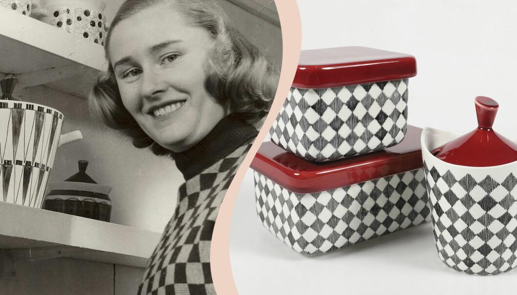 Delad bild. Till vänster svartvit bild på Marianne Westman i svartvit-rutig polotröja bredvid en hylla med delar ur servisen PIcknick. Till höger syns delar ur den svartvitrutiga servisen Red Top.