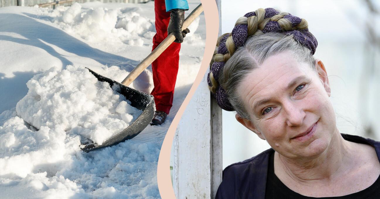 Marie Mandelmann och snöskottning.