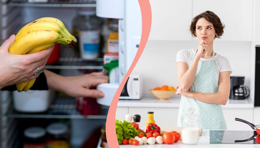 Till vänster, bananer håller felaktigt att läggas i kylen, till höger, en kvinna funderar i köket.