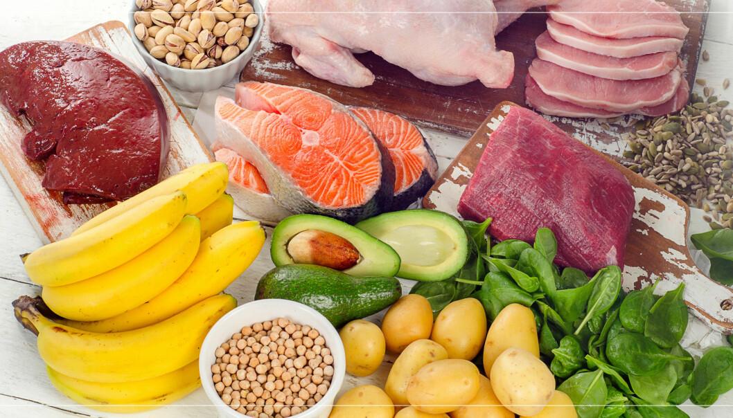 Mat som är rik på B-vitamin. Kött,kyckling, lax, banan, avokado, potatis, spenat.