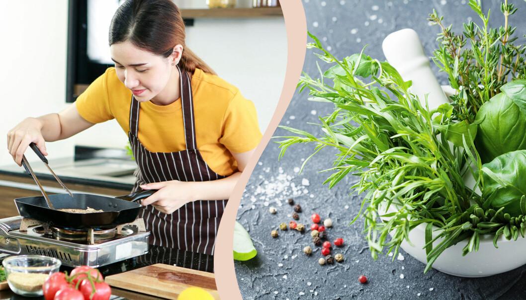 Till vänster kvinna lagar mat, till höger färska örter.