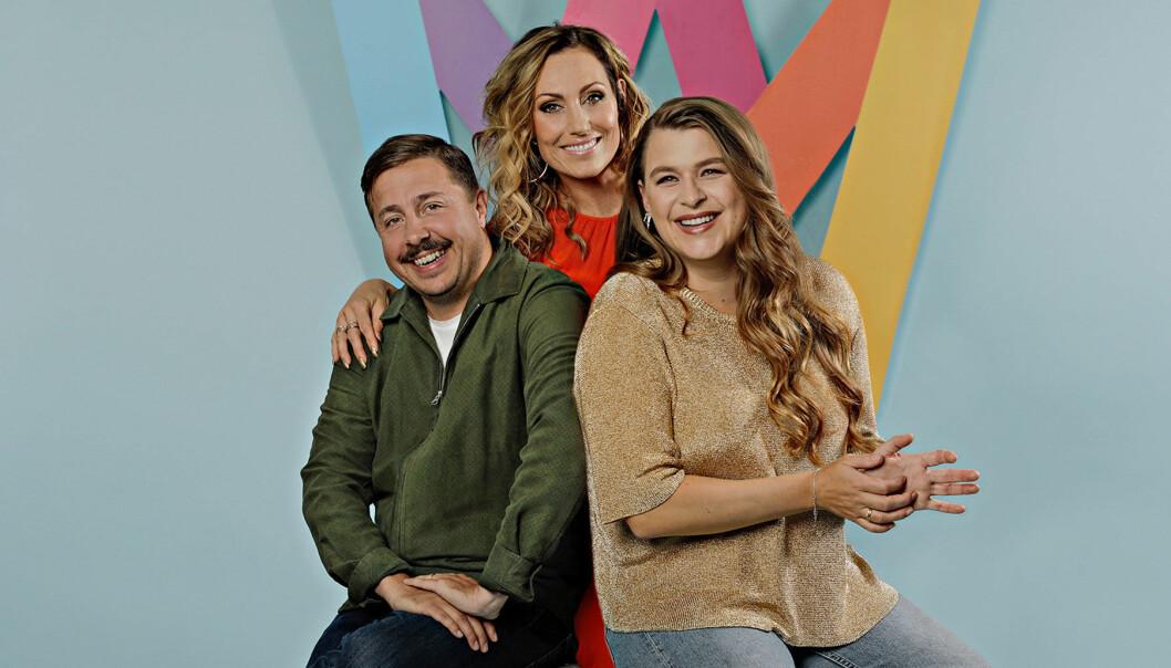David Sundin, Lina Hedlund och Linnea Henriksson är programledare för Melodifestivalen 2020