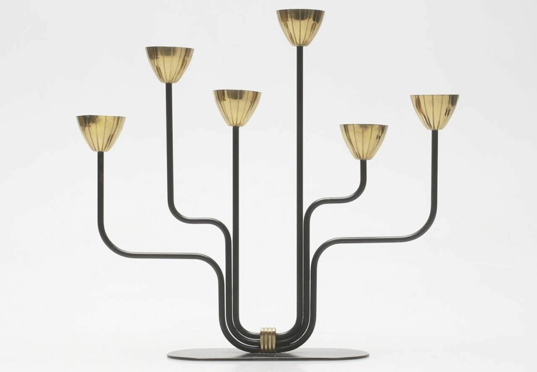 Ljusstake i svart och mässing med sex ljus från Ystad metall