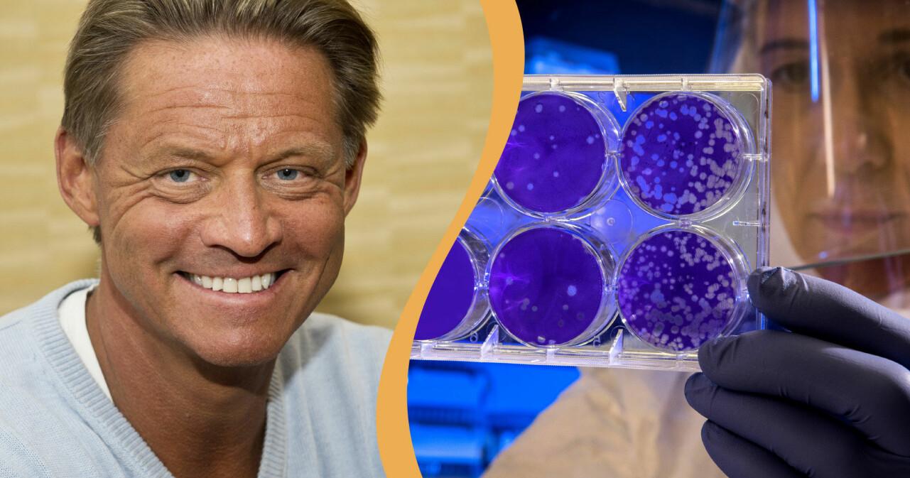 Mikael Sandström kombinerat med en bild på virus.