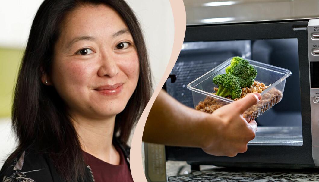 Till vänster mikrobiologen Christina Lantz på Livsmedelverket, till höger en matlåda som läggs in i en mikrovågsugn