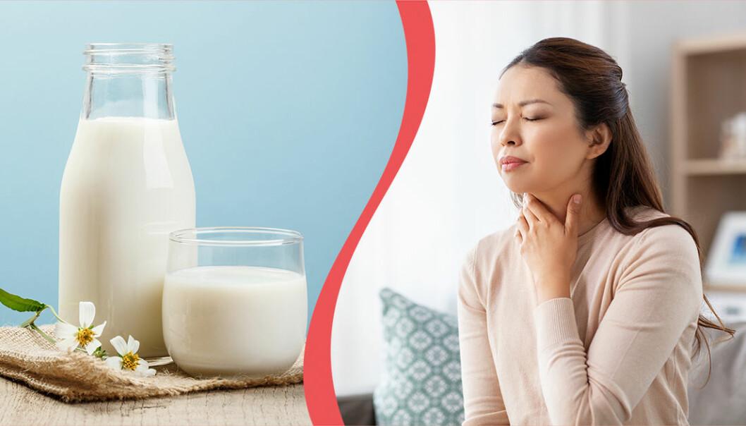 Kvinna som håller sig för halsen och ett glas mjölk