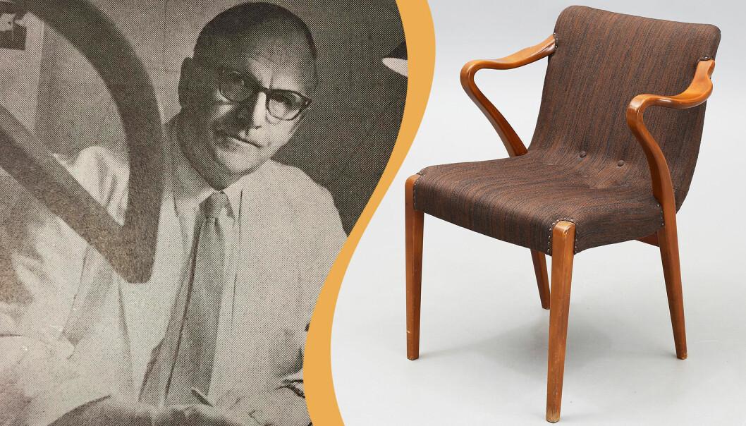 Kollage av Axel Larsson och en av möbelformgivarens stolar