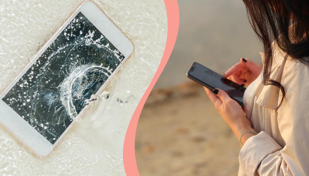 Till vänster, mobiltelefon som ligger i vatten, till höger, en kvinna som använder sin mobiltelefon.