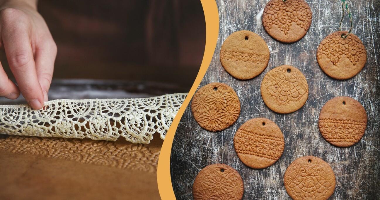 Någon som gör mönstrade pepparkakor med spets och hur pepparkakorna med mönster ser ut efter gräddning.