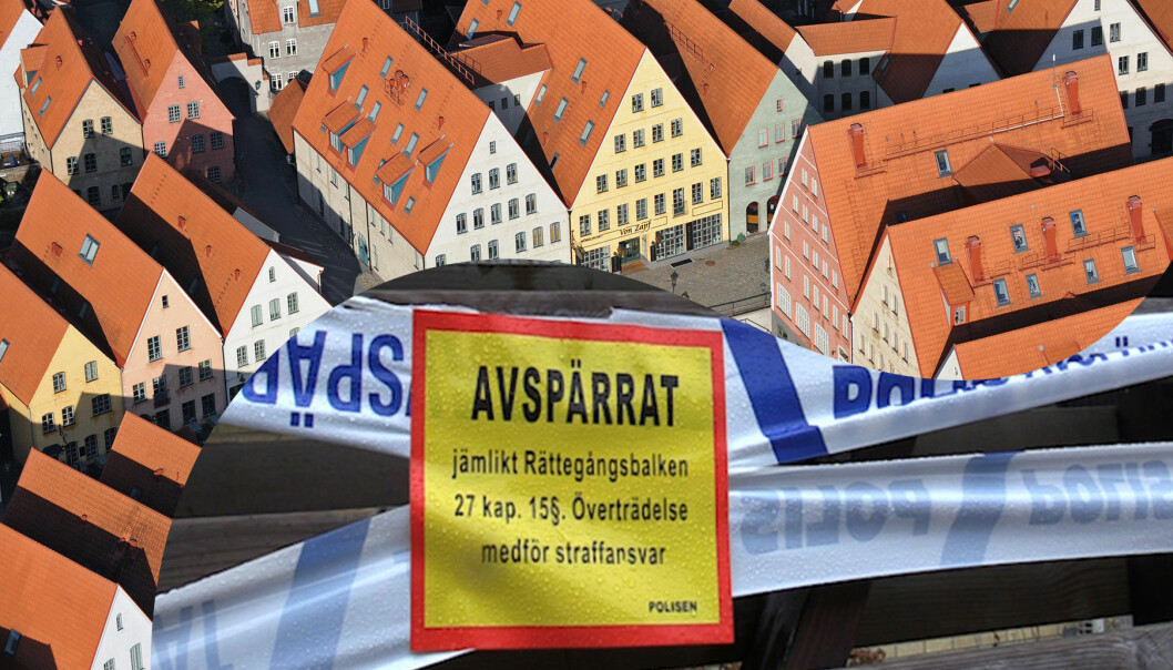 Kollage av polisavspärrningar och stadsbild av Hjärup