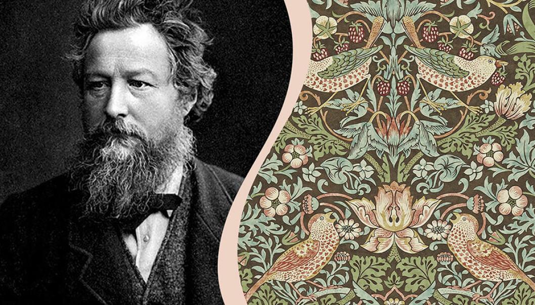 Till vänster svartvit bild av William Morris, till höger mönstret Strawberry Thief.
