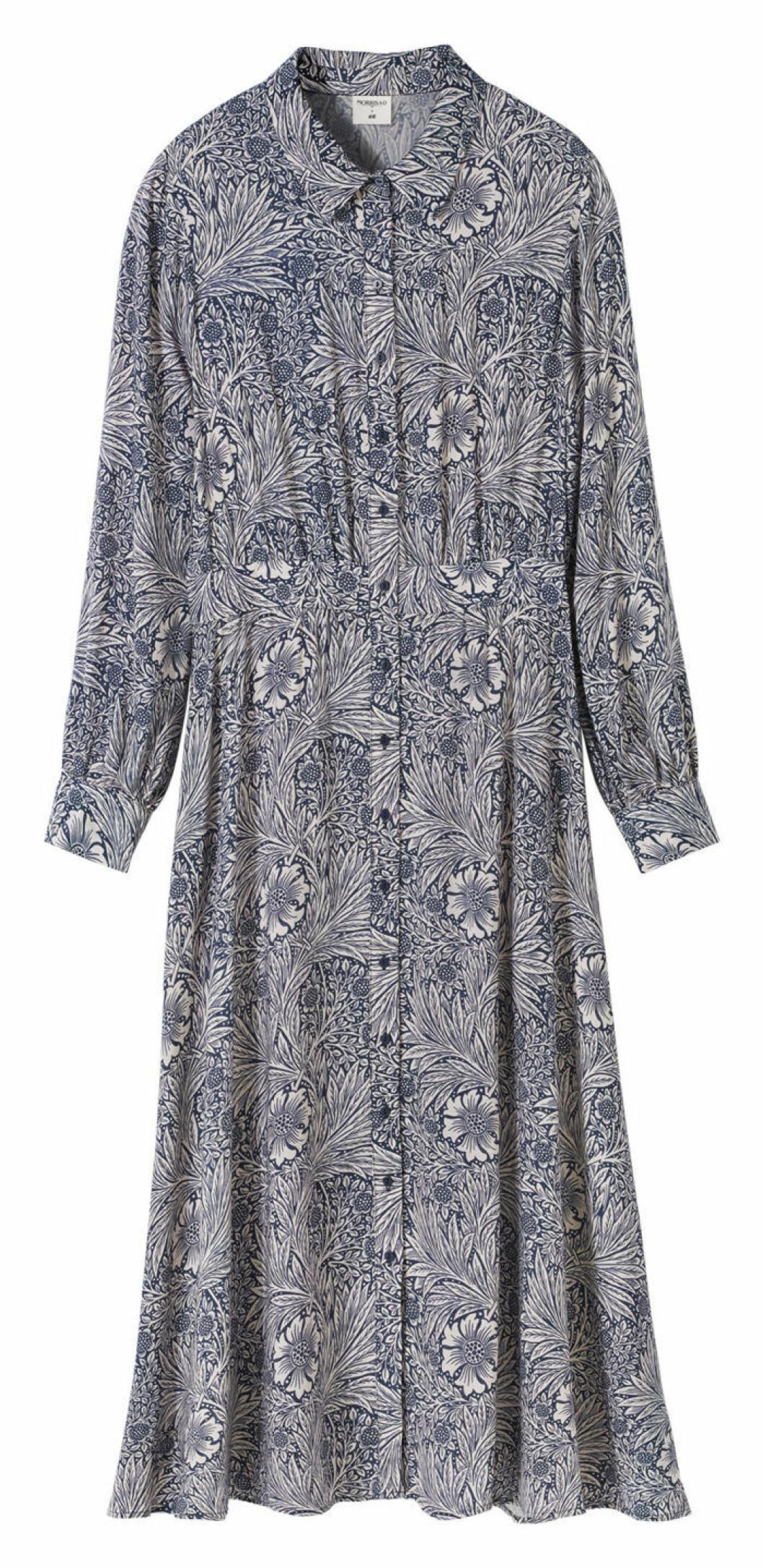 Blå mönstrad skjortklänning William Morris H&M