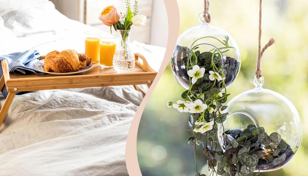 Presenter till mors dag, en sängbricka och glasamplar.